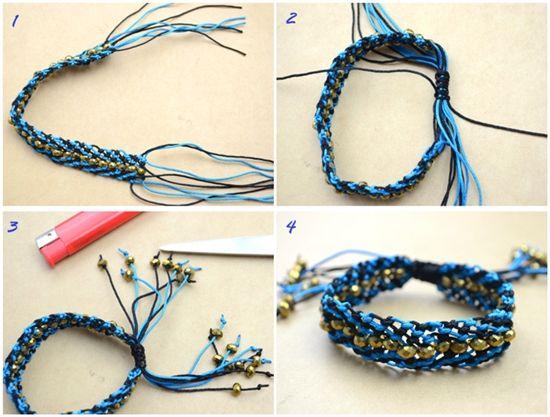 Как сделать браслеты из ниток и бисера поэтапно