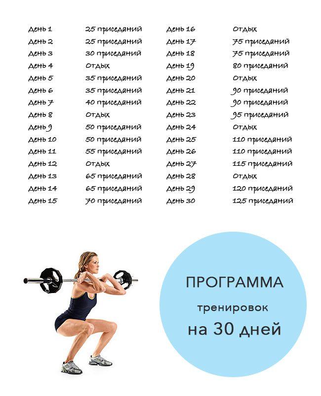 Схема тренировки для девушки