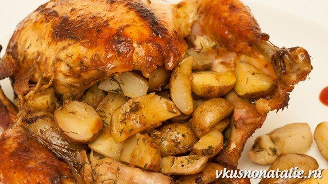 Курица фаршированная овощами в духовке целиком