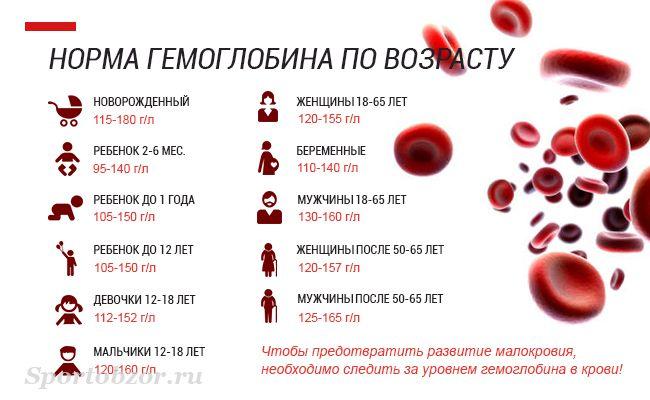 Гемоглобин норма у женщин