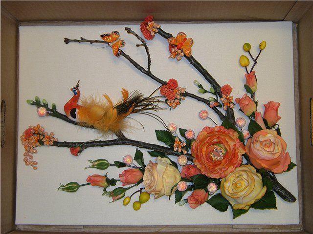 Панно из цветов на стену своими руками фото