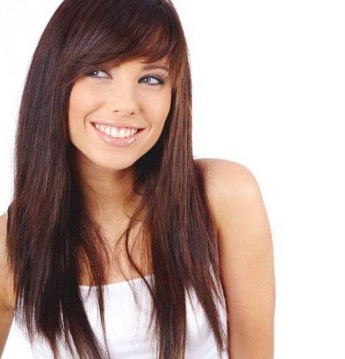 Челка косая рваная на средние волосы фото