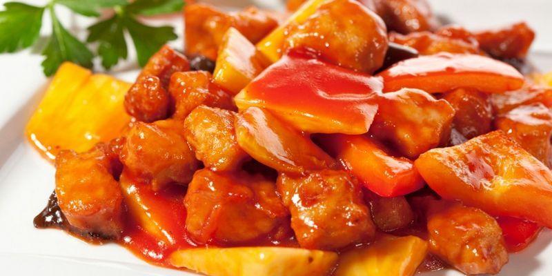 Мясо в кисло сладком соусе