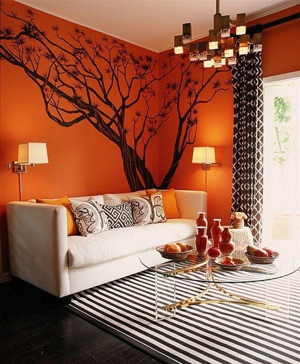 С чем сочетается оранжевый цвет в интерьере