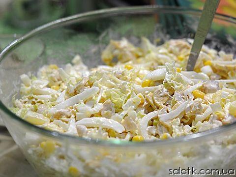Салат с курицей с грибами