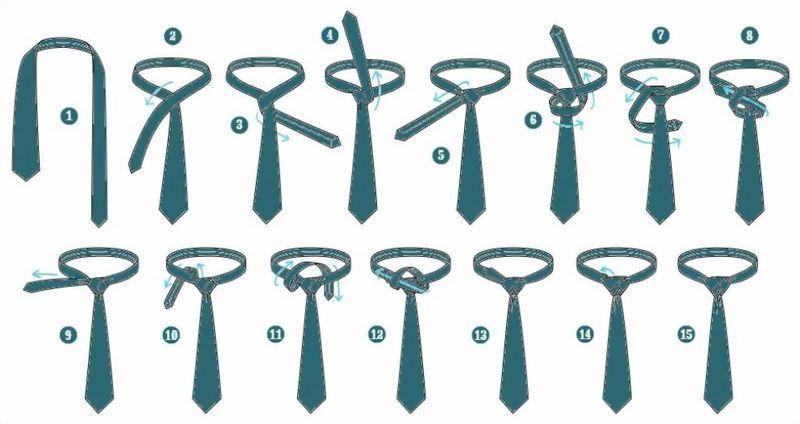Схема завязывания галстука