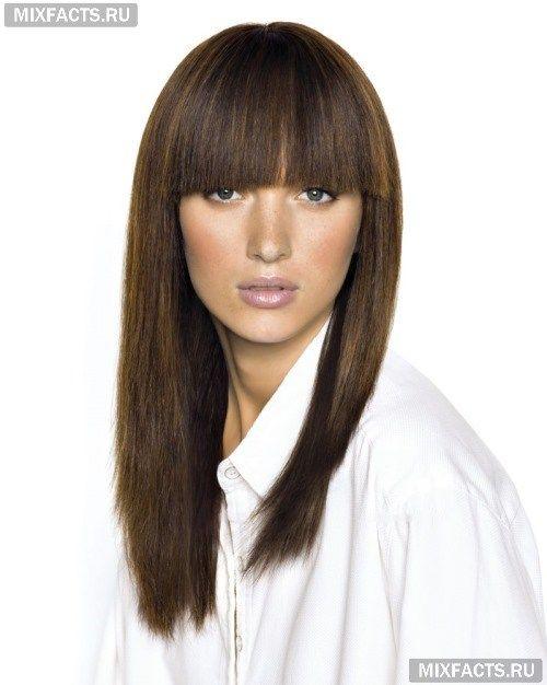 Прямая челка фото на средние волосы
