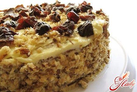 Торт с черносливом и орехами