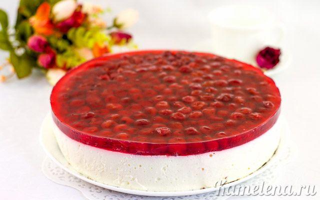 Творожный торт с вишней