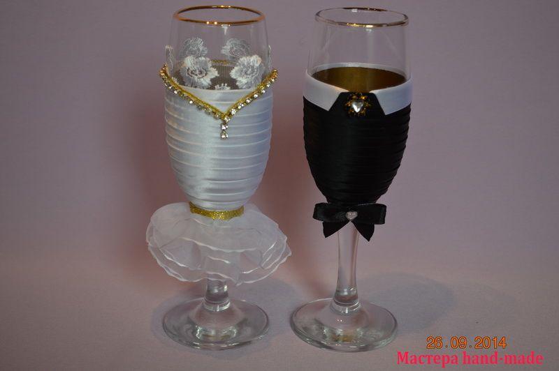 Украшение свадебных бокалов своими руками