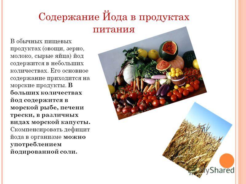 В каких продуктах есть йод