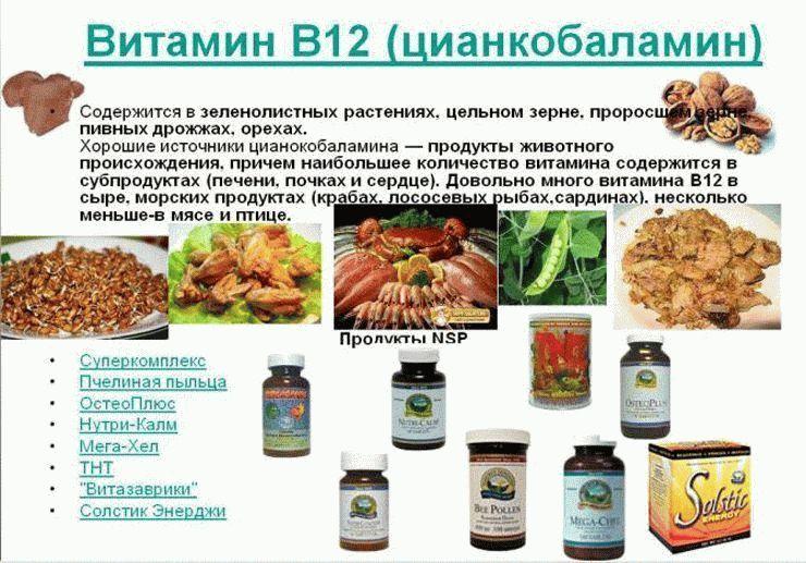 в какиё продуктаё витамин б12 снижаются