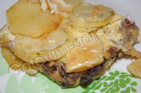Запеканка картофельная с фаршем и грибами
