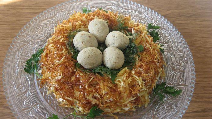 Салат гнездо глухаря пошаговый рецепт