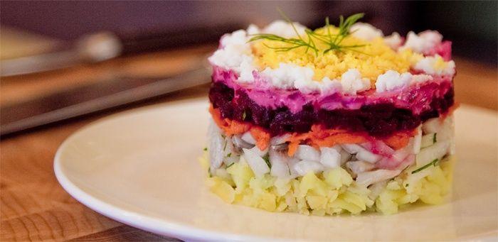 Салат под шубой слои